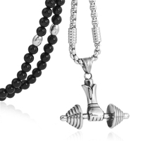 BLEUM CADE Mens Stainless Steel Fitness Dumbbell Pendant Necklace with Black Natural Agate Stone Chain 26