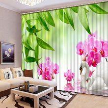 High Quality 3D Printing Curtains Beautiful Lifelike Pond Swan Curtains Bedroom Living Room Curtains CL-068(China)