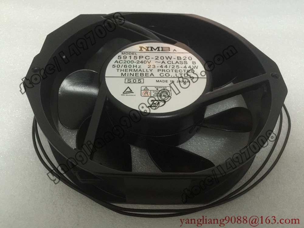 NMB-MAT 5915PC-20W-B20 S05 AC 200V-240V 25/44W 2-Wire 172X150X38mm Server Round Fan high temperature resistance 200v nmb 5915pc 20w b20 metal frame cooling fan