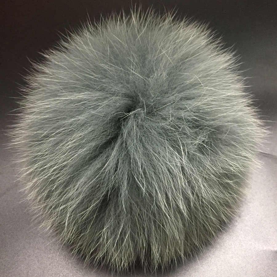 DIY 14-15cm büyük tilki kürk ponponlar kürk topları için örme şapka kap kış kasketleri ve anahtarlık ve eşarp gerçek tilki kürk pom poms