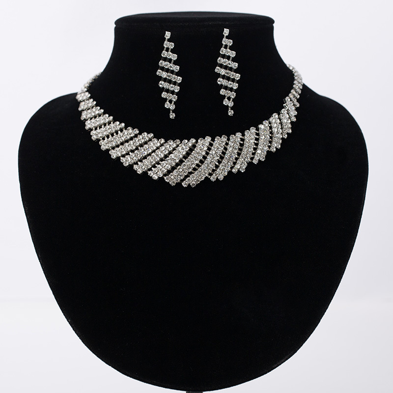 New Silver Plated Jewelry  Austrian Crystal Set Statement Necklace - Fashion Jewelry