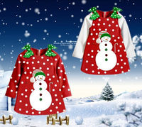 Christmas Baby Girls Kids Snowman Long Sleeve Bowknot Dot Tops Party Dress 2 7Y