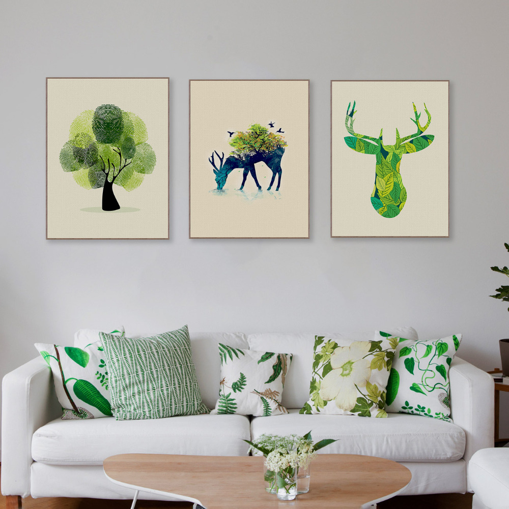wohnzimmer wand poster : Triptychon Moderne Aquarell Hirschkopf Leinwand A4 Kunstdruck