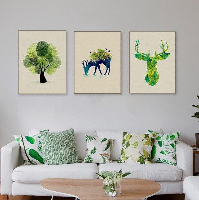 Triptychon moderne aquarell hirschkopf leinwand a4 kunstdruck poster wald wand - Moderner kunstdruck leinwand ...