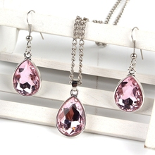 ФОТО 1set vintage silver water drop pendant necklace & earrings fashion jewelry pink
