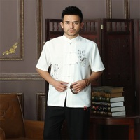 Spring New White Chinese Men's Cotton Mandarin Collar Kung Fu Shirt Top Novelty print Tang Shi Tang Suit Size S M L XL XXL XXXL