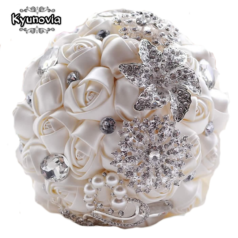 Kyunovia Elegant Custom Bridal Wedding Bouquet With Pearl Beaded Brooch Silk Roses Romantic Wedding Colorful Bride 's Bouquet