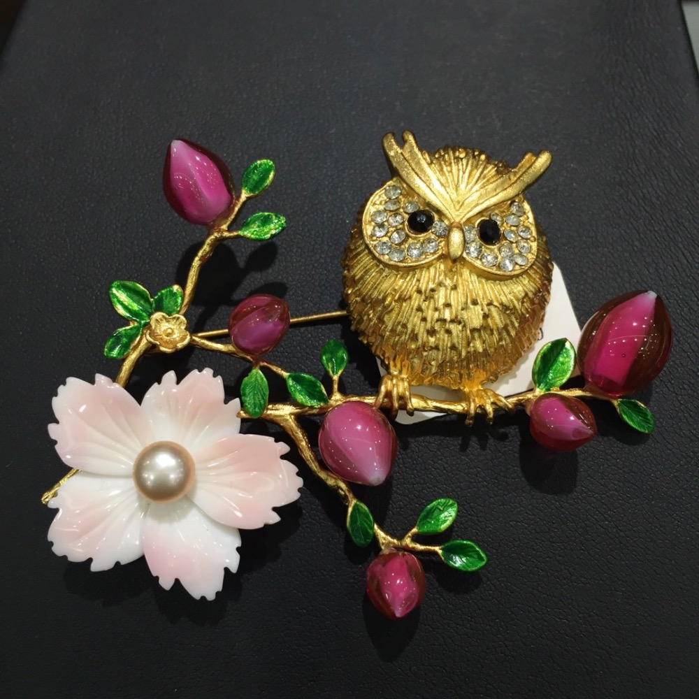 gold color night owl on a flower branch brooch natural shell flower copper with coloured glaze brooch multi color fashion jewel цена