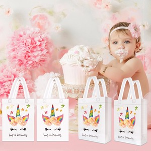 Image 5 - 20PCS Hot Sale Unicorn Shopping Bag Laminated Waterproof Non woven Gift Bag Kids Birthday Party Gift Tote Bag Unicorn Party Bags