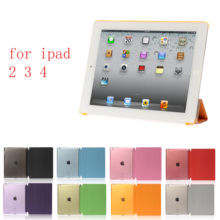 New PC Leather Case for Apple iPad 2 3 4Fashion Smart Cover + translucent back 4