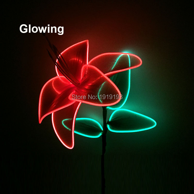 Standard Packing Blinking LED Rope Lily Flower Flexible EL wire Neon Craft Art Colorful Flower as Wedding, Restaurant Decoration
