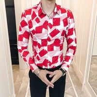 Men's Business Casual Shirt Printing Color Men Shirt Brand Clothes Slim Fit Long-Sleeve Bordado Dress Shirt Camisas Masculina