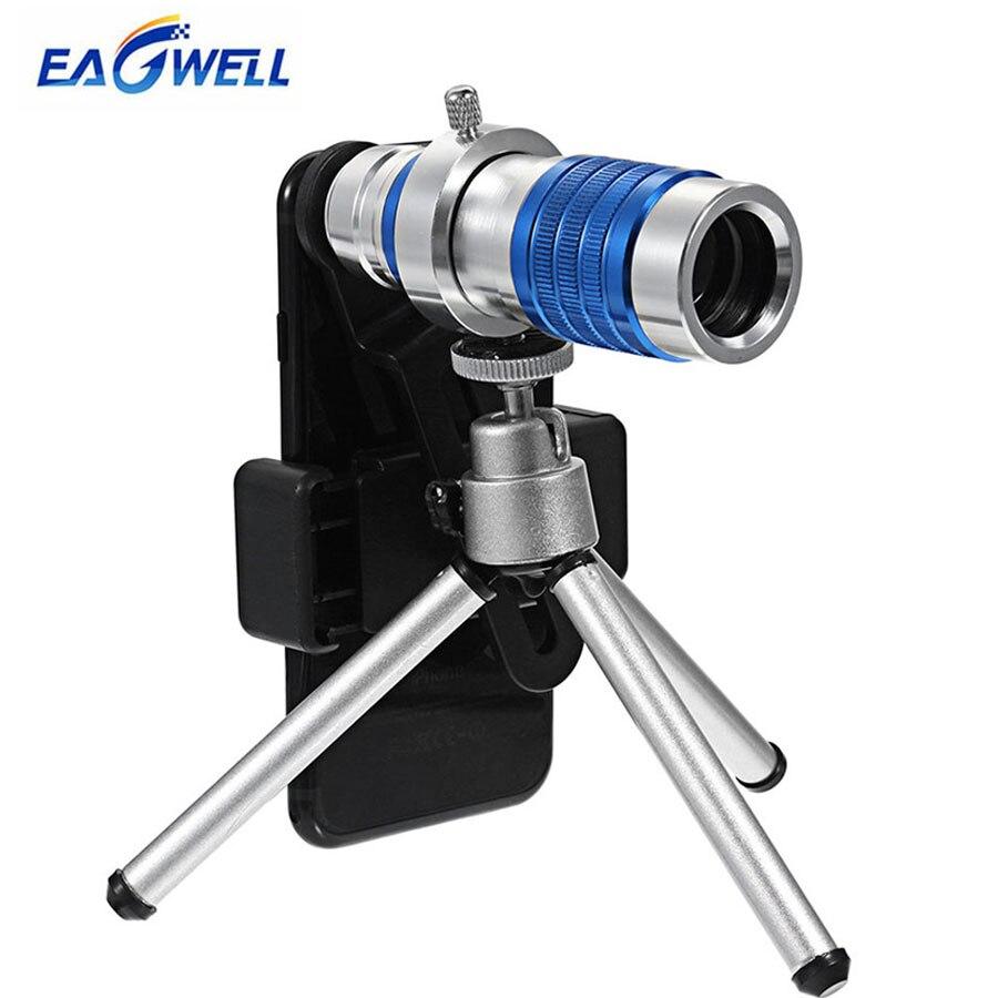 Full Metal 12X Zoom telescopio teléfono Cámara teleobjetivo óptico Universal para iPhone 7 8X6 Sumsung Xiaomi con trípode