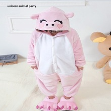 Kids Cartoon Pink Pig Animal Onesie Pajamas For Children Sleepsuit Pajamas Cosplay Costumes Baby Romper Jumpsuit for Girls new arrival jumpsuit elephant monkey lion owl elf pink horses penguins leotard romper infant costumes baby costumes baby onesie