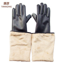 50cm winter warm gloves women's fashion long gloves high quality fur gloves for women