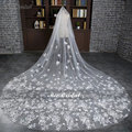 In Stock 3.5 Meters Long Wedding Veil Bridal Veils White / Ivory Lace Edge With Comb Wedding Accessories voile mariage 2016