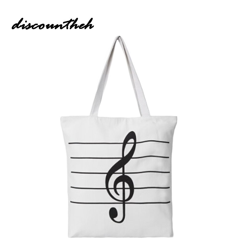 Music Notes Bag New Women Girls Canvas Musical Shopping Shoulder Bag Notes Totes Handbag Large High Quality