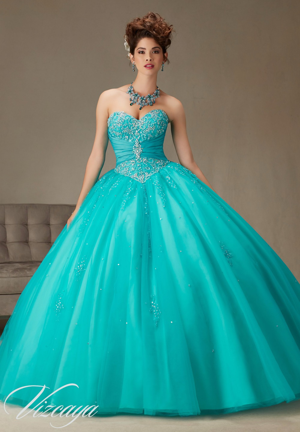 Free Shipping Teal/Aqua Two tone Satin and Tulle Ball Gown with ...