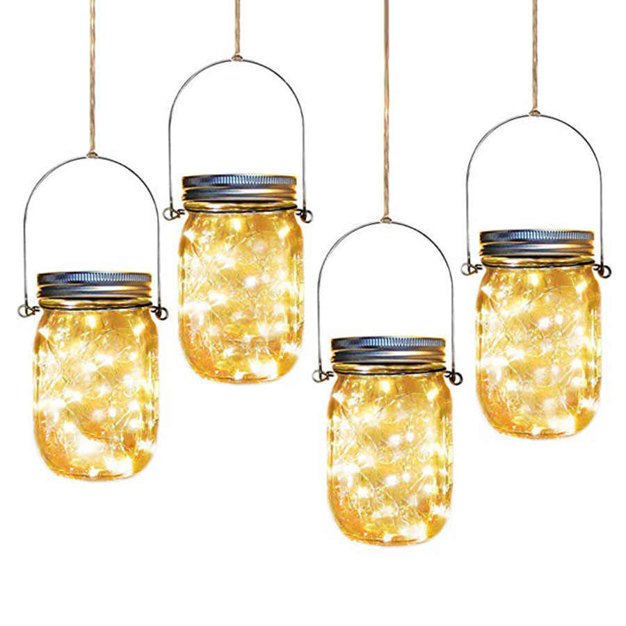 Solar Lanterns Jar Hanging Light 20 Led