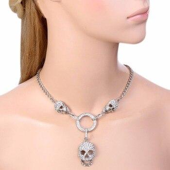 Skull Pendant Necklace Austrian Crystal Rhinestone For Women