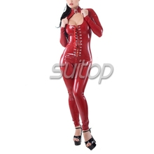 Suitop Laced up red latex catsuit with lacing front