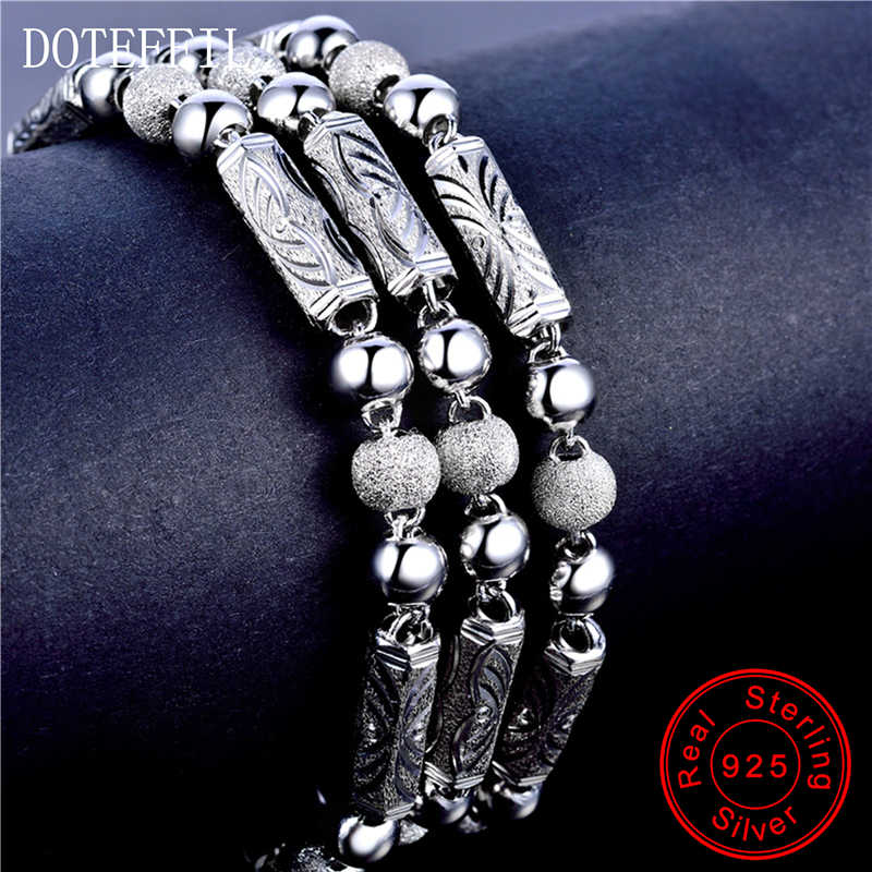 925 пробы, серебряное ювелирное изделие, мужское ожерелье, классическое, властное, скраб, бусины, твердая Серебряная цепочка, ожерелье, ювелирное изделие