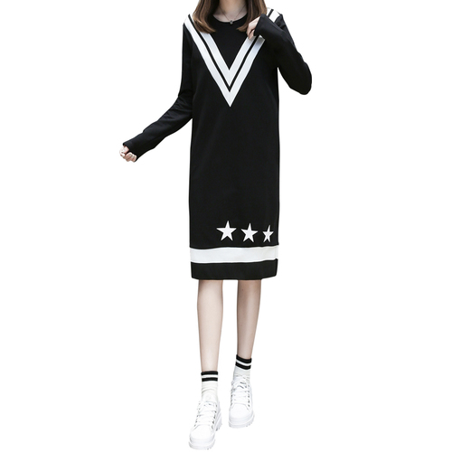 new European big yards dress leisure cotton mill hair dress knitted velvet warm vestidos black vestidos long sleeve size XL-5XL women winter coat leisure big yards hooded fur collar jacket thick warm cotton parkas new style female students overcoat ok238