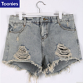 Cintura alta Shorts Jeans Mulheres Plus Size 5XL Buraco Short Jeans Feminino Cintura Alta Novo 2017 Moda Pantalones Cortos Mujer