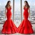 Sexy Profundo Escote en v Vestidos de Noche Robe de Soirée Satén Rojo de La Sirena Vestido de Noche Formal Mujeres Vestidos Del Partido Caliente de La Venta