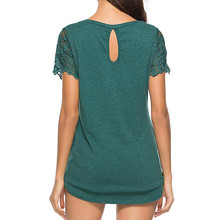 Solid Lace Short Sleeve O Neck Streetwear Tshirts For Women