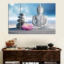 3 шт., художественный декор, холст, настенная живопись Будды, белый песок, камень, цветы, Будда, картина, настенная живопись, без рамки