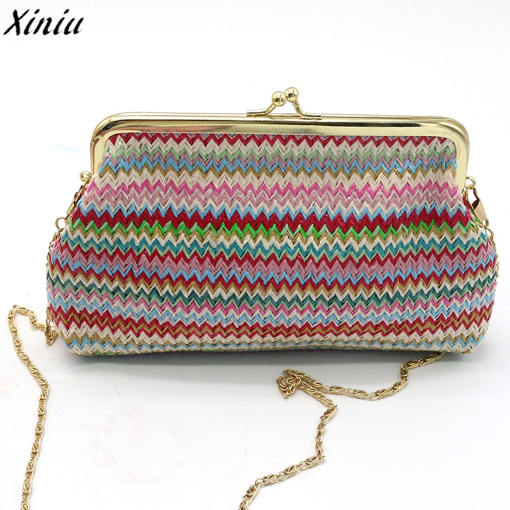 Ladies Handbag Knitting Rainbow Pattern Cotton Mini Wallet Small Fresh Coin Purse monedero de mujer #9711