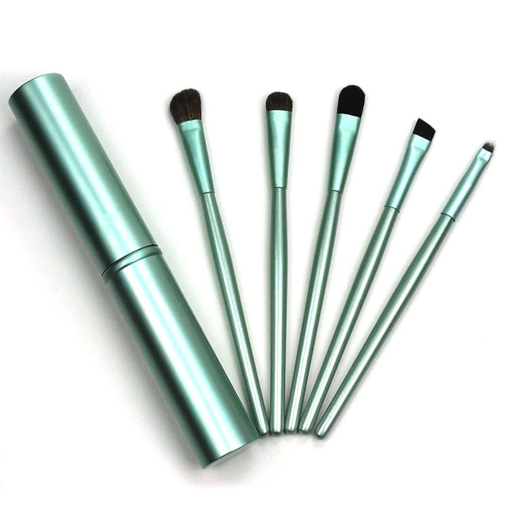 ELECOOL 5pcs Eye Makeup Brushes Set Eyeshadow Eyeliner Lip Kit Pony Hair with Tube Holder make up brushes maquillaje