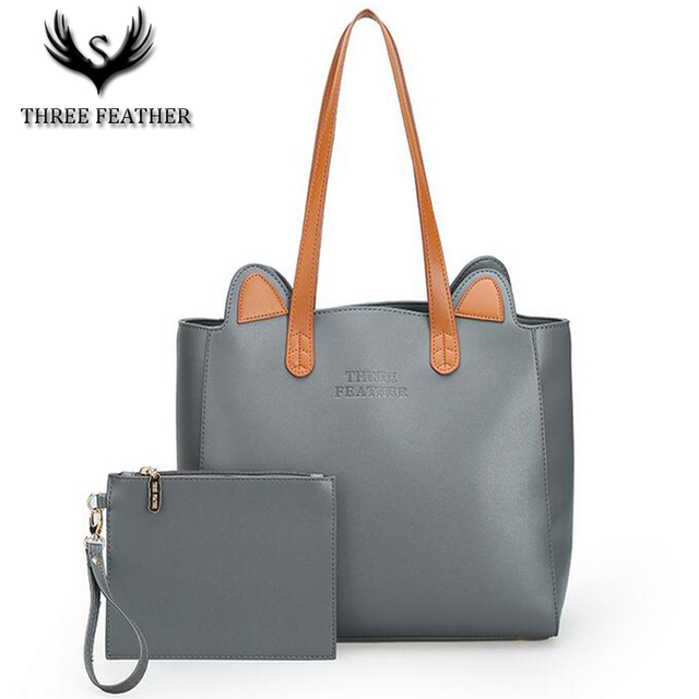 1865a6b936 THREE FEATHER Stylish Casual Woman Female Handbag Big Purse Cat Ear Famous  Designer Brand Bags Women s Leather Handbags Bag S004