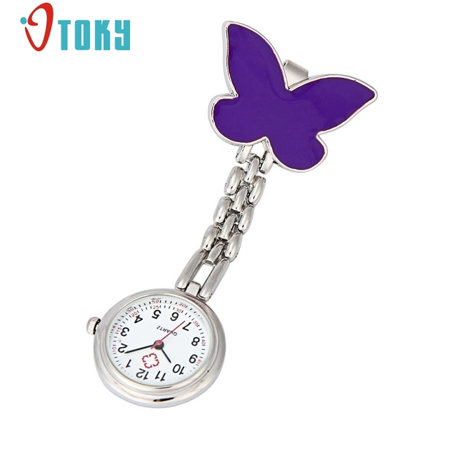 OTOKY Clip-on Fob Brooch Pendant Hanging Butterfly Watch Fashion Pocket Watch Qu