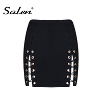 2017 Sexy Women Lace Up Skirt Black Mini Party Club Bandage Skirt