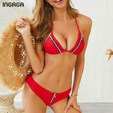 INGAGA Red Zipper Bikini Halter Swimsuit Push Up Swimwear Women Sexy Solid Beach Wear New Micro Biquini 2019 Bathing Suit Female