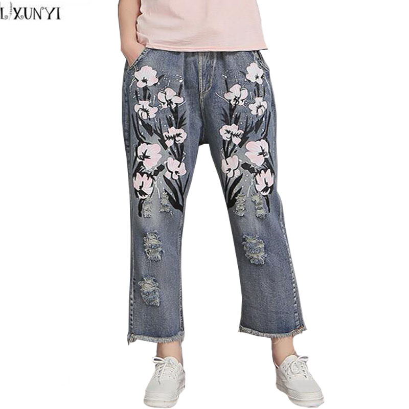 Ankle Length Women's Denim Pants 2017 New Spring Cotton Plus Size Ripped jeans Voor Vrouwen Light Color Printed jeans Women 40 2017 spring new women sweet floral embroidery pastoralism denim jeans pockets ankle length pants ladies casual trouse top118