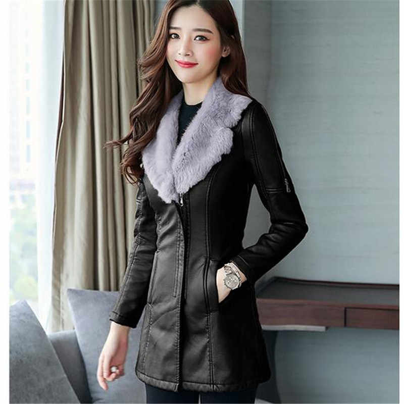 Medium Syle Fur collar Leather Coat thick 2017 New Winter Warm Jacket Women PU Leather Coat Female Overcoat Plus Size A0042