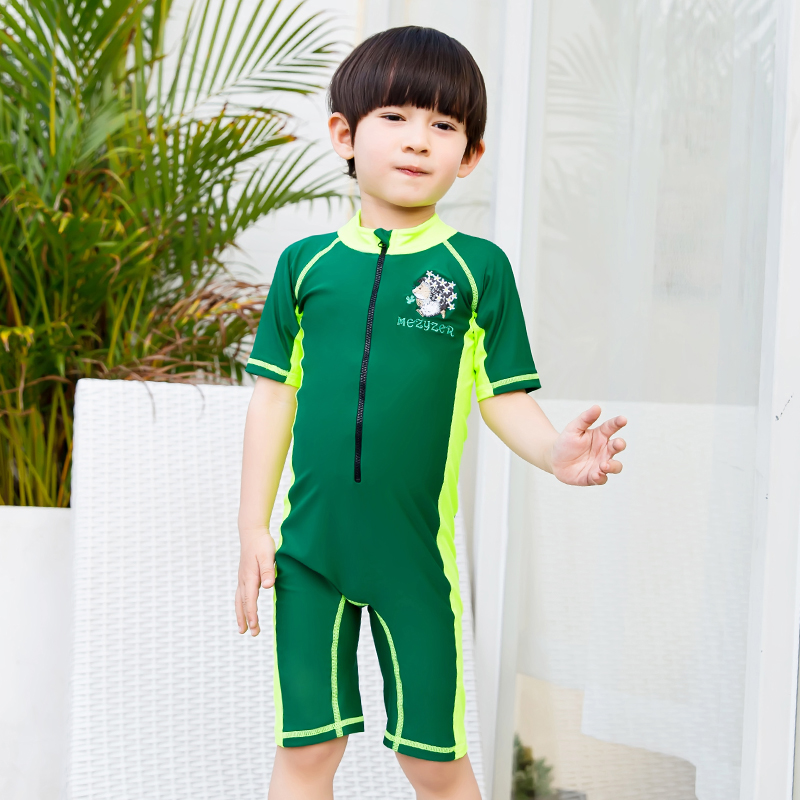 2017 Child Swimwear One Piece Boys Girls Cute Swimsuits Kids High Quality Short Sleeves Beach Wear Diving Swimming Suit M-2XL