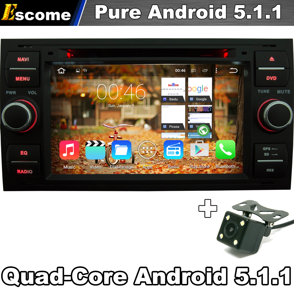 Pure Android 5.1 Car DVD GPS Navi Player Stereo Radio Audio For Ford Focus 2 Mondeo S C Max Fiesta Galaxy Connect With Camera