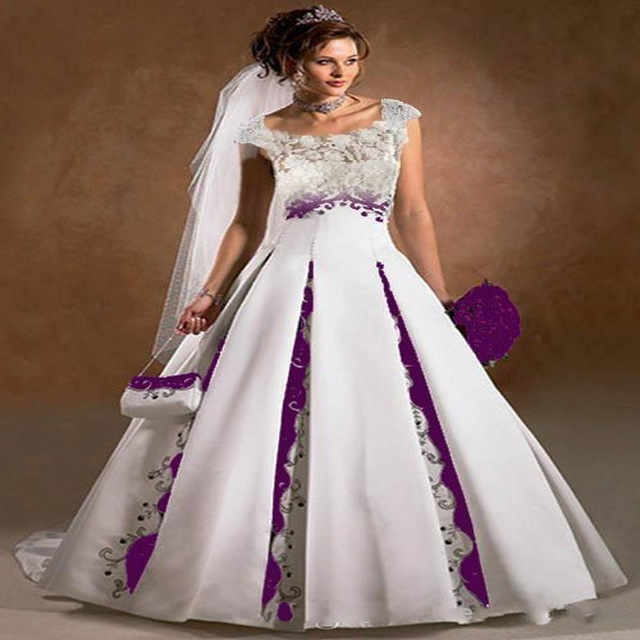 2017 White And Purple A Line Wedding Dresses Stain Court Trian Sleeveless Embroidery Custom Plus Size
