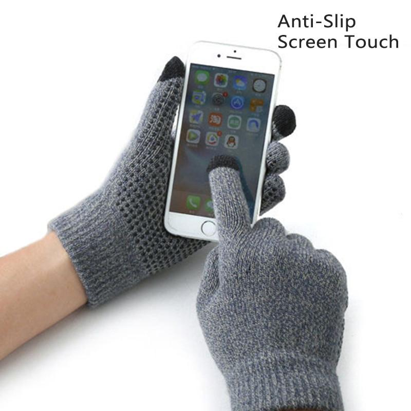 Winter Non-slip Touch Screen Gloves Men Women Knitted Full Finger Gloves Antiskid Thicken Wool Gloves Luvas Warm Mitten Driving