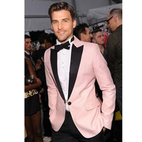 New Men Suit For Wedding Pink Business Prom Party Suits Formal Groomsmen Tuxedo (jacket+Pants+tie)