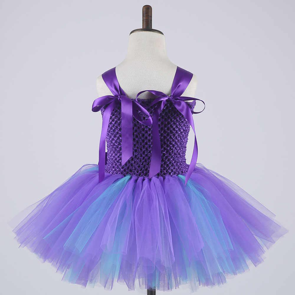 王女ガールマーメイドチュチュドレスラブリーガール紫、青膝丈フラワー誕生日チュチュドレスヘッドバンドとコスプレ衣装