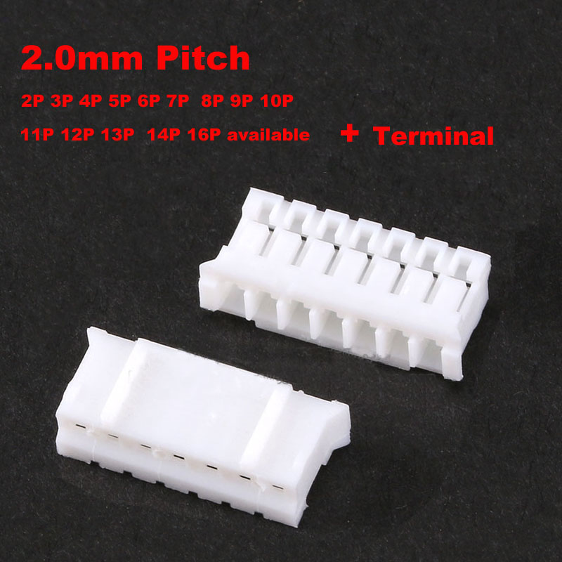 50pcs Ph2.0 Male Connector Leads Header Housing 2.0mm Pitch Shell 2/3/4/5p/6/7/8/9/10/11/12/13/14/16 Pin Lighting Accessories terminal Available