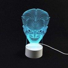 Удивительные 3D Иллюзия Светодиодные Настольные Лампы Night Light с Форма Джокер Сенсорный USB Таблица Lampara 7 Цветов Изменчива