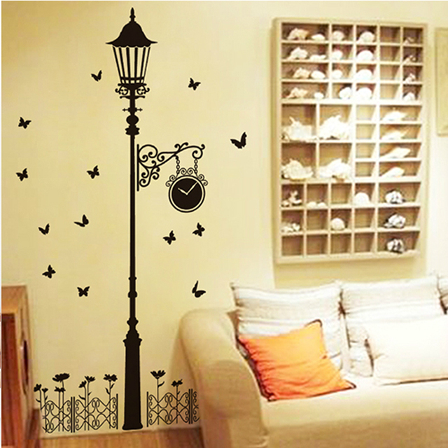 Black Street Fence TV Background Wall Stickers Stickers Are Living Room  Interior Decoration Can Remove The Part 24