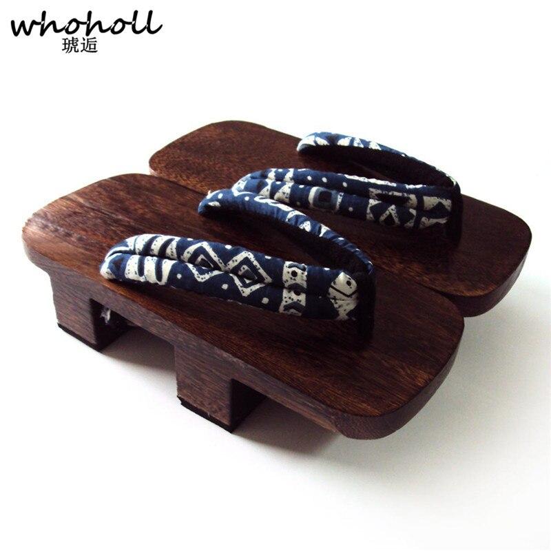 WHOHOLL Original Geta Japanese Clogs Flip-flops Man Women High Two-teeth Platform Wooden Slippers Cosplay Costumes