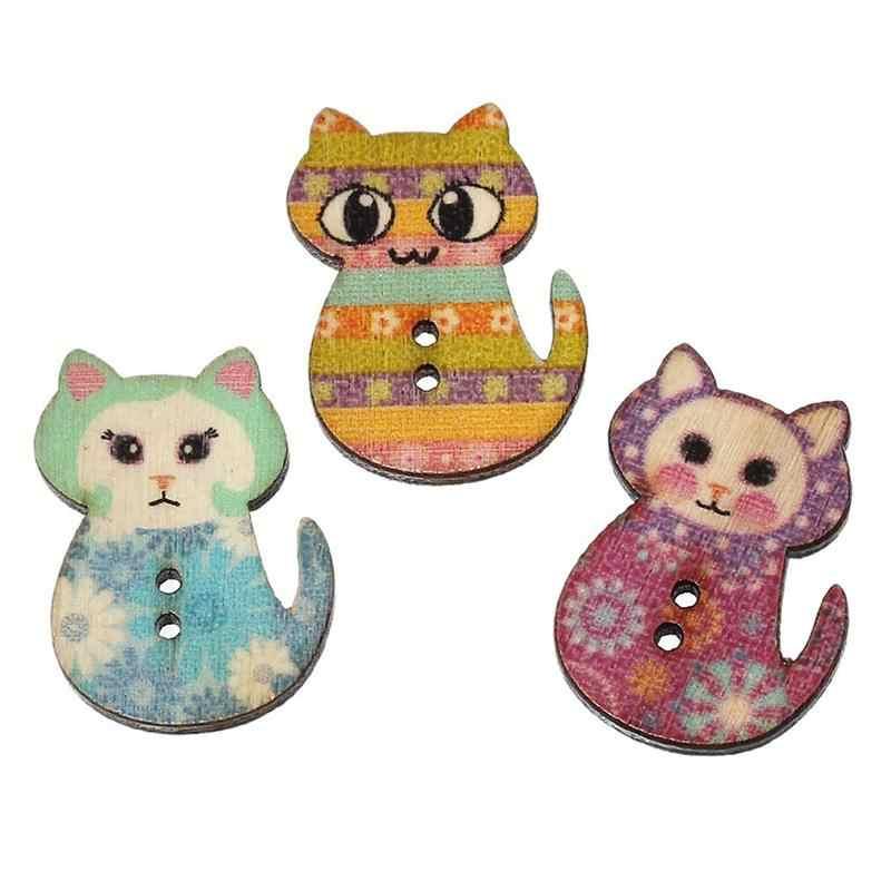 Multicolore A Forma di Gatto 2 Fori Rifornimenti di Festa Per Il Partito All'ingrosso Stampa In Legno Tasti di Cucito (Colore Misto)